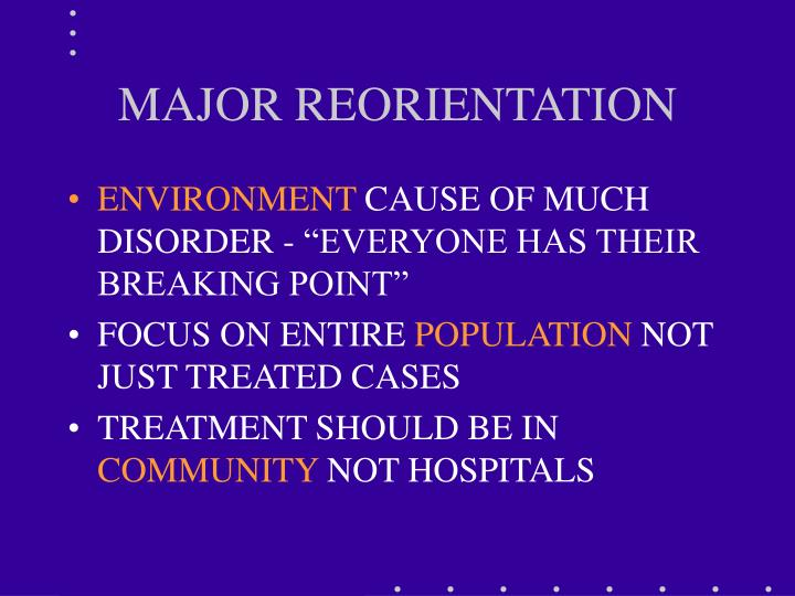 MAJOR REORIENTATION