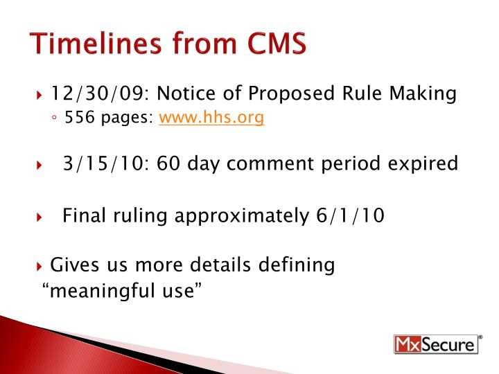 Timelines from CMS