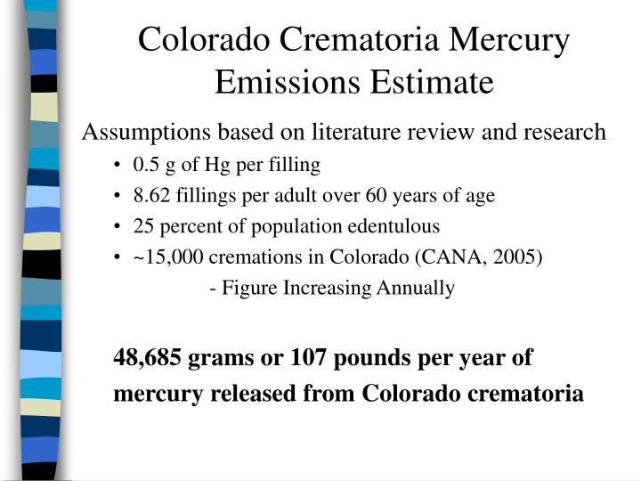 Colorado Crematoria Mercury Emissions Estimate