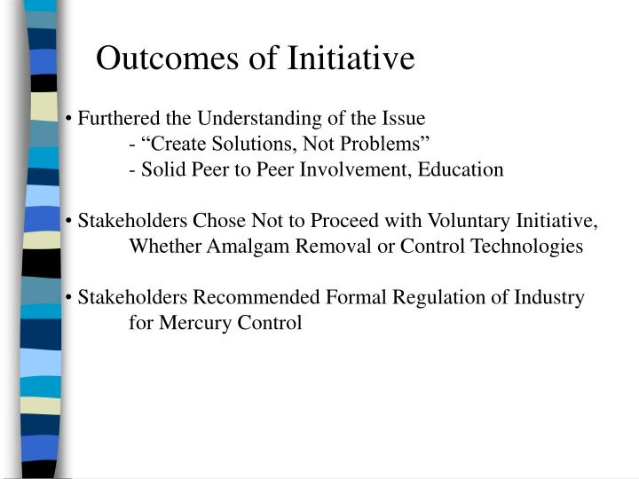 Outcomes of Initiative