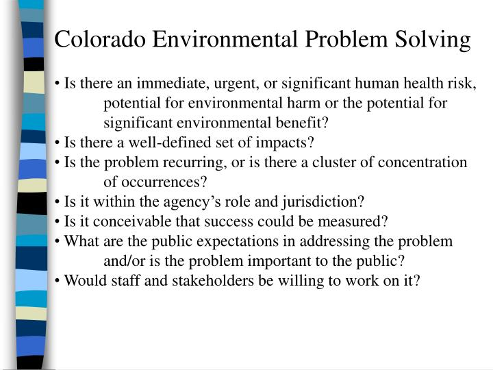 Colorado Environmental Problem Solving