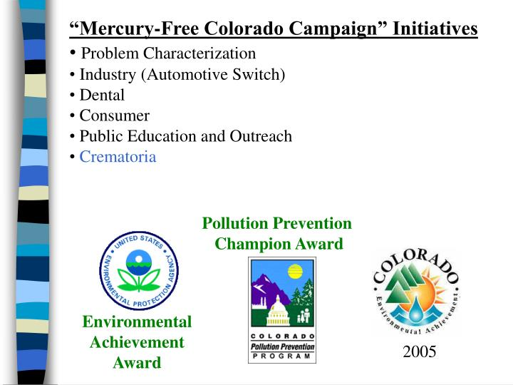"""Mercury-Free Colorado Campaign"" Initiatives"