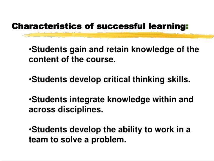 Characteristics of successful learning