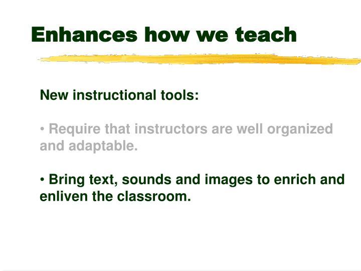 Enhances how we teach