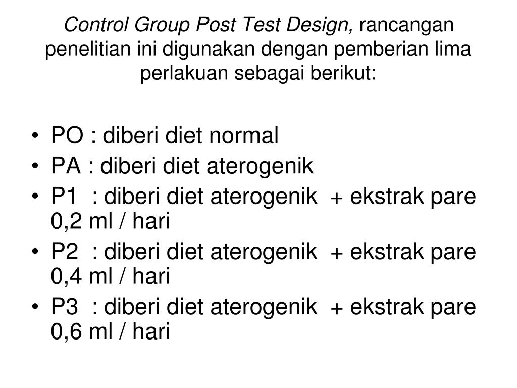 Control Group Post Test Design,