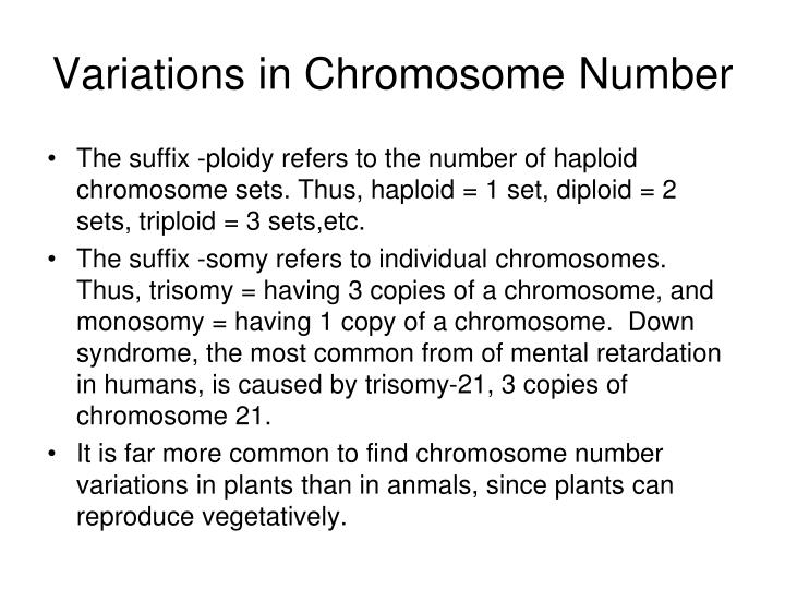 Variations in Chromosome Number