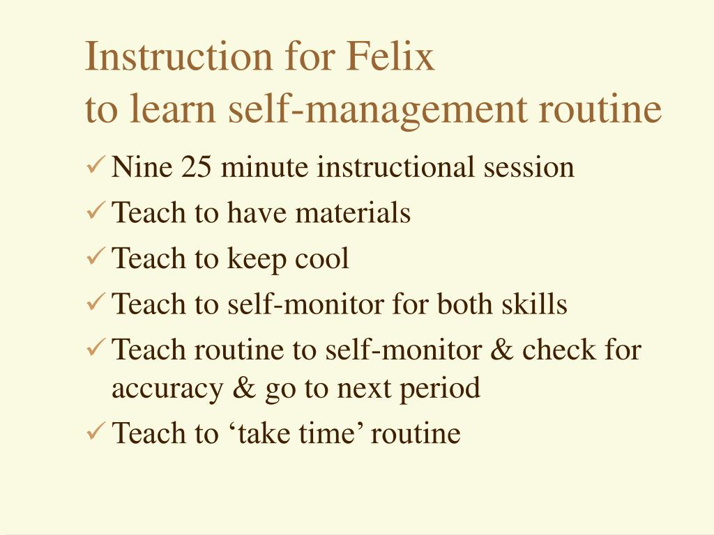 Instruction for Felix