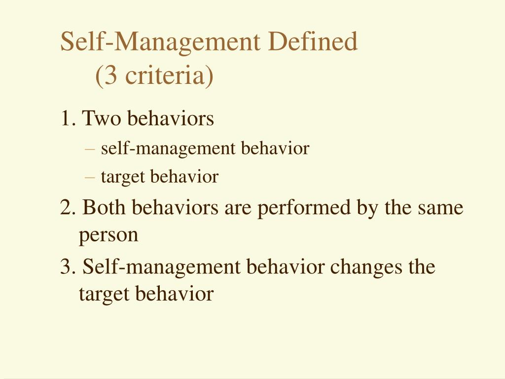 Self-Management Defined