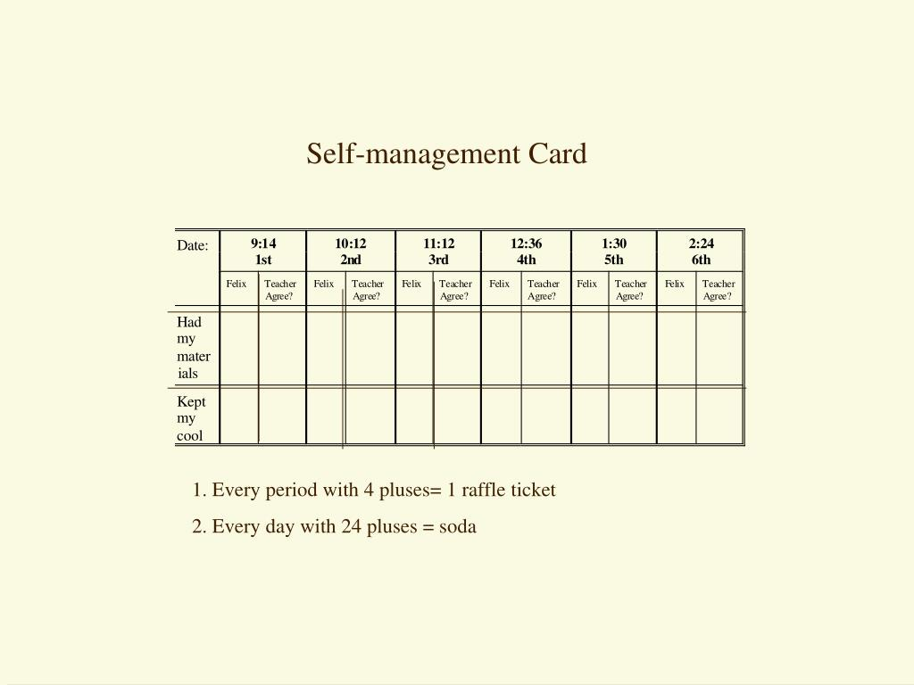 Self-management Card