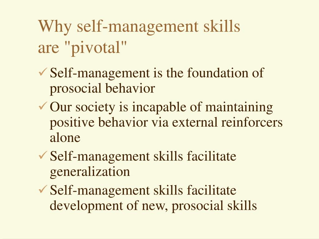 Why self-management skills