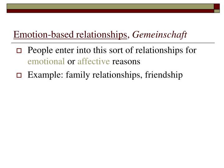 Emotion-based relationships