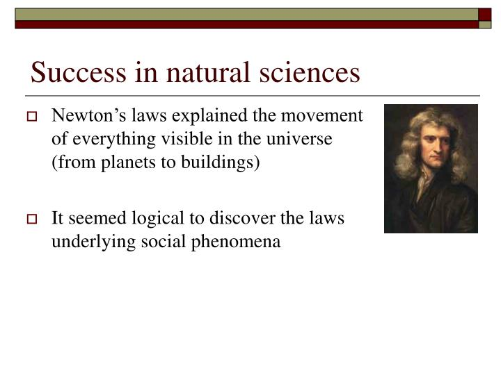 Success in natural sciences