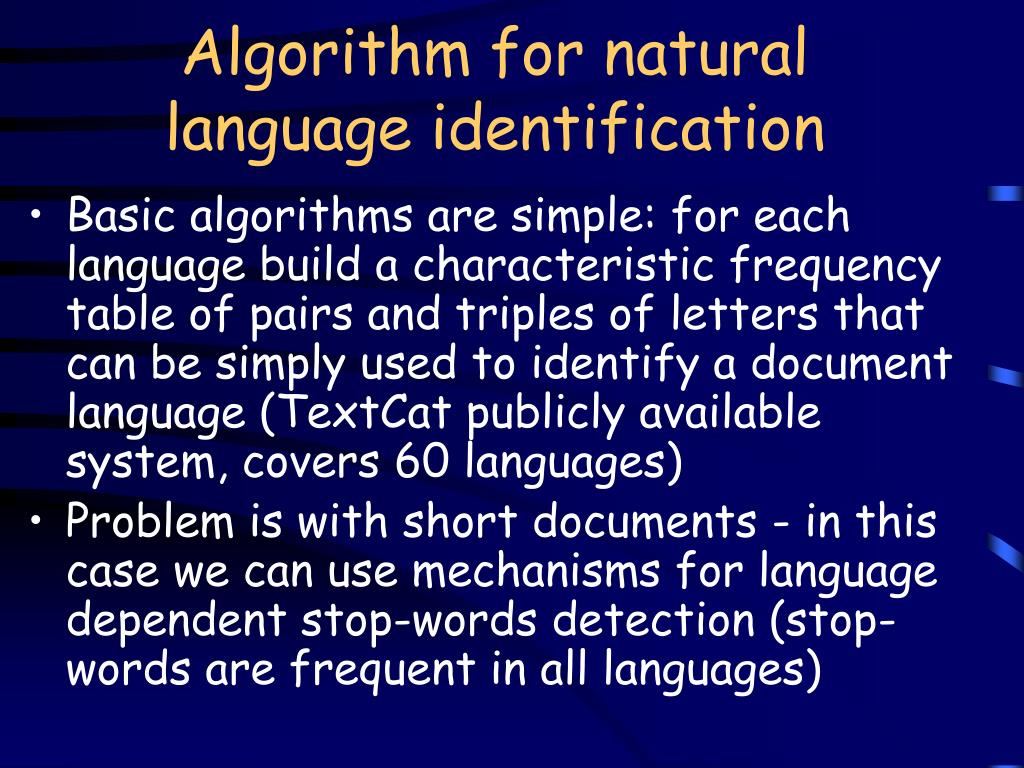 Algorithm for natural language identification