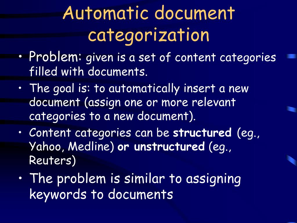Automatic document categorization