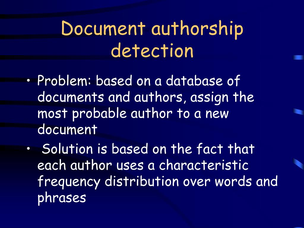 Document authorship detection
