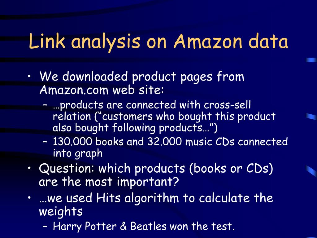 Link analysis on Amazon data