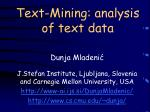 text mining analysis of text data