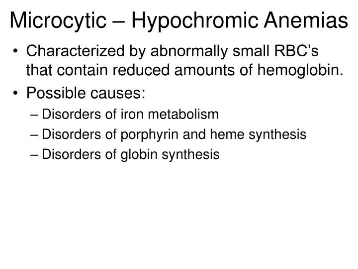 Microcytic – Hypochromic Anemias