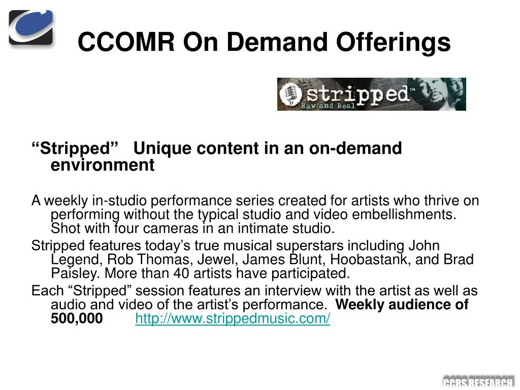 CCOMR On Demand Offerings