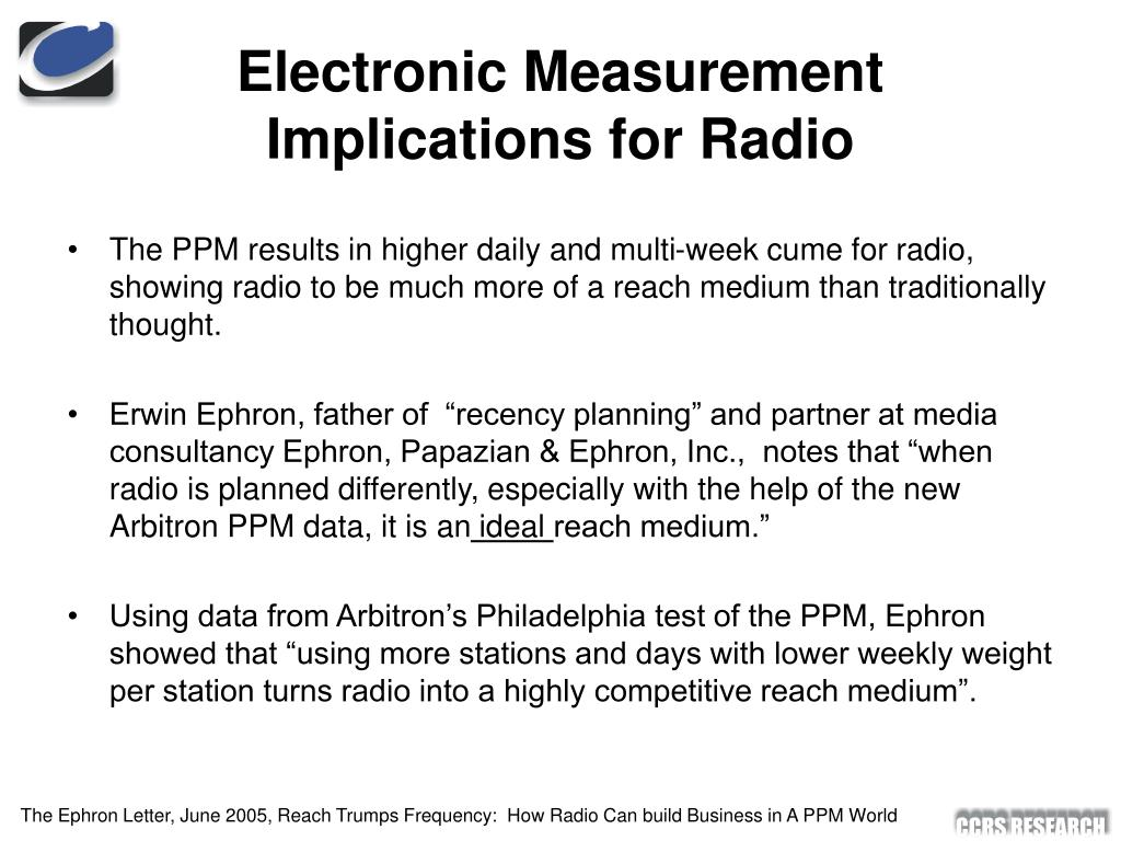 Electronic Measurement Implications for Radio