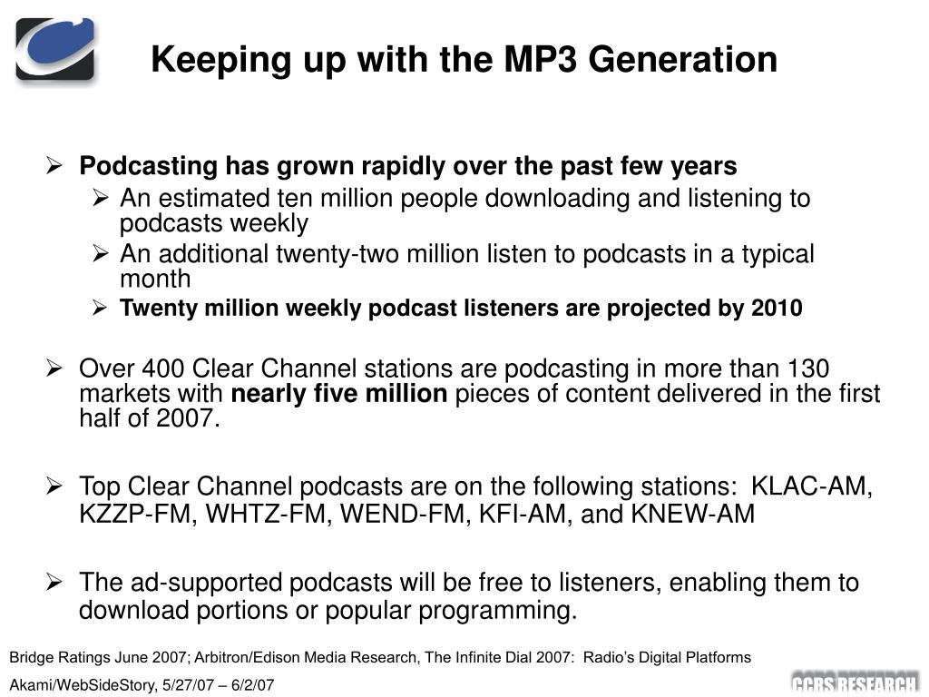 Keeping up with the MP3 Generation