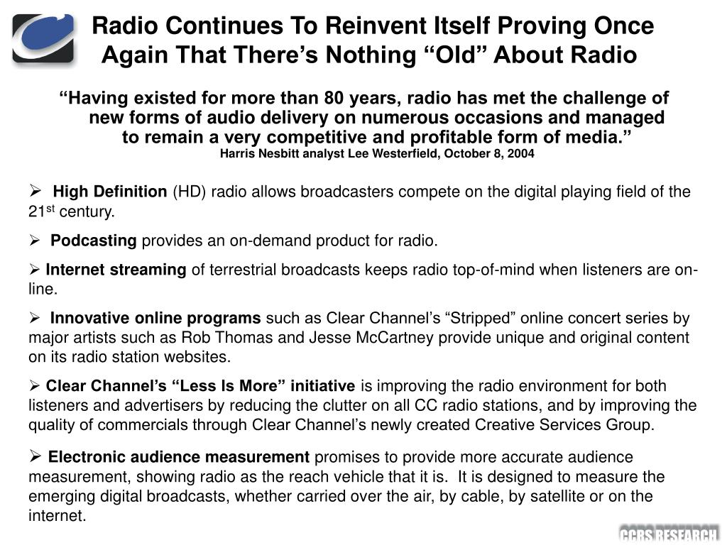 "Radio Continues To Reinvent Itself Proving Once Again That There's Nothing ""Old"" About Radio"