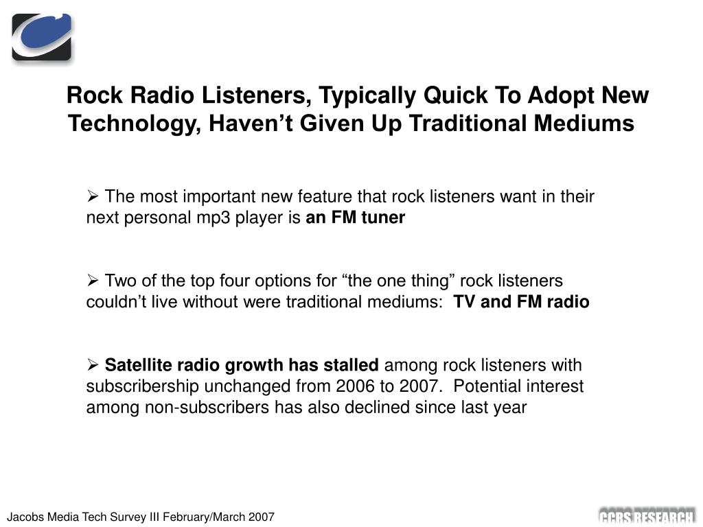 Rock Radio Listeners, Typically Quick To Adopt New Technology, Haven't Given Up Traditional Mediums