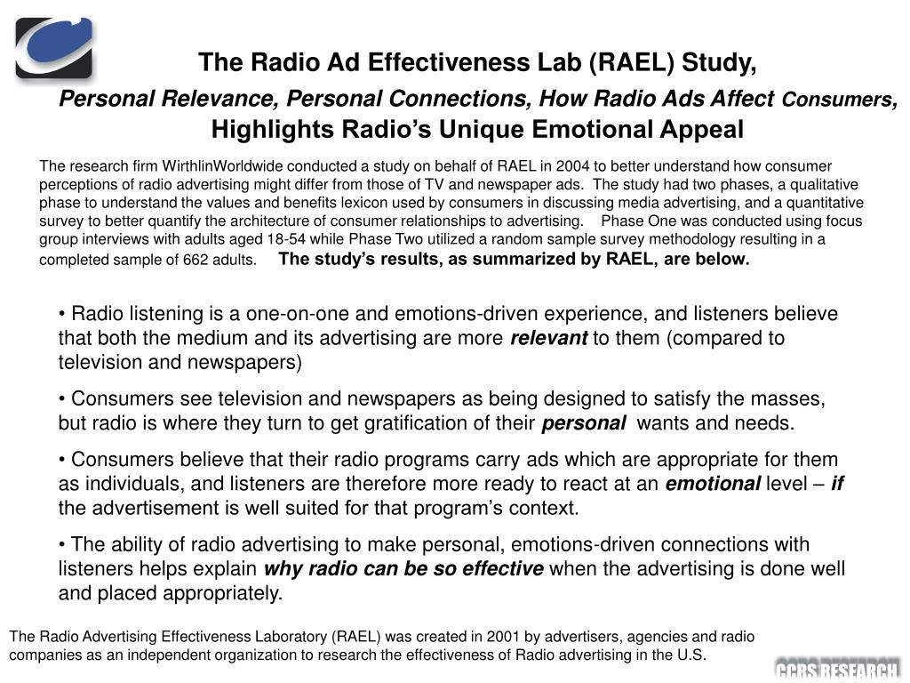 The Radio Ad Effectiveness Lab (RAEL) Study,