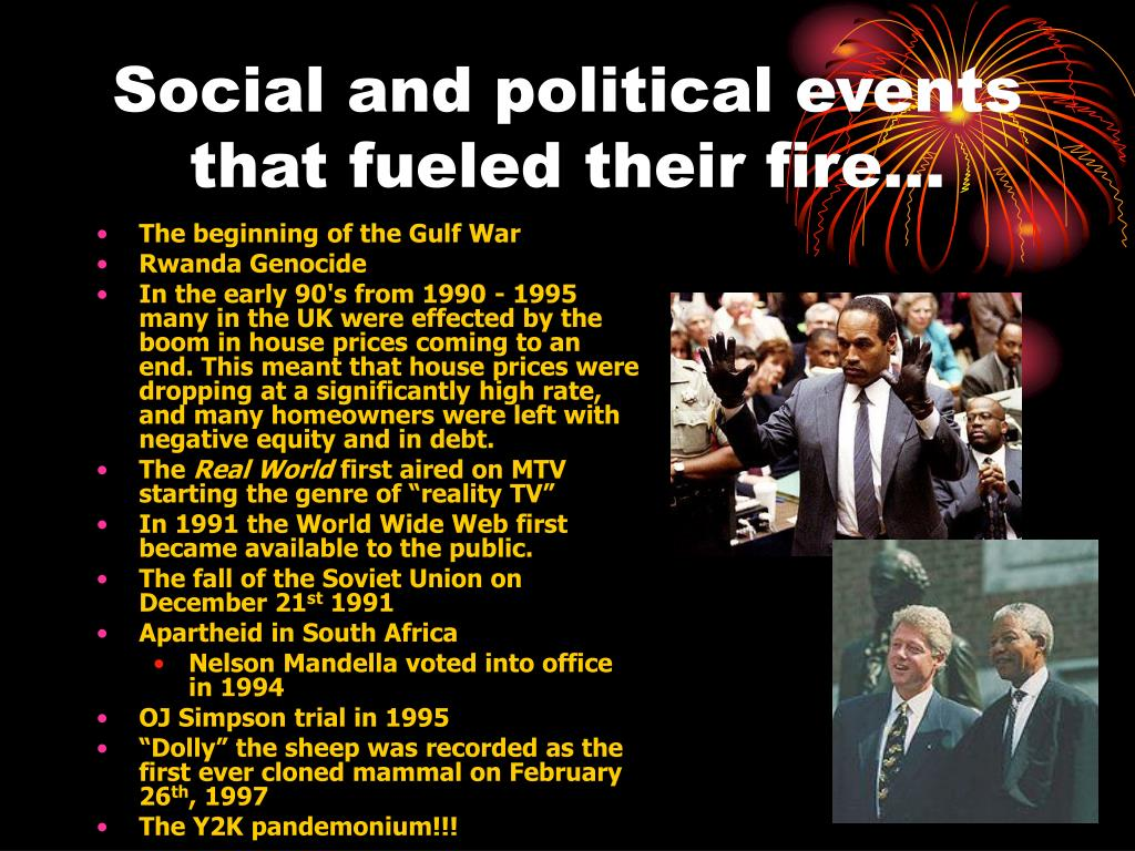 Social and political events that fueled their fire…