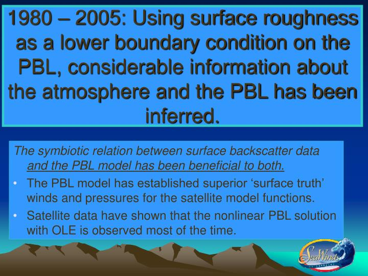 1980 – 2005: Using surface roughness as a lower boundary condition on the PBL, considerable inform...