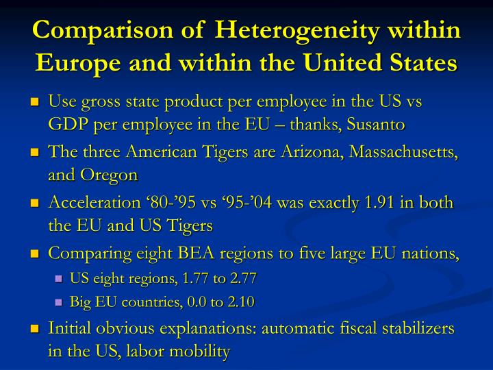 Comparison of Heterogeneity within Europe and within the United States