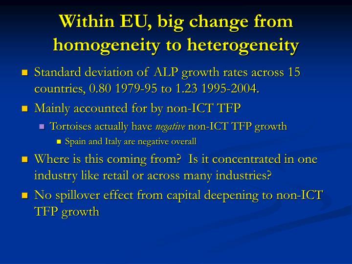 Within EU, big change from homogeneity to heterogeneity