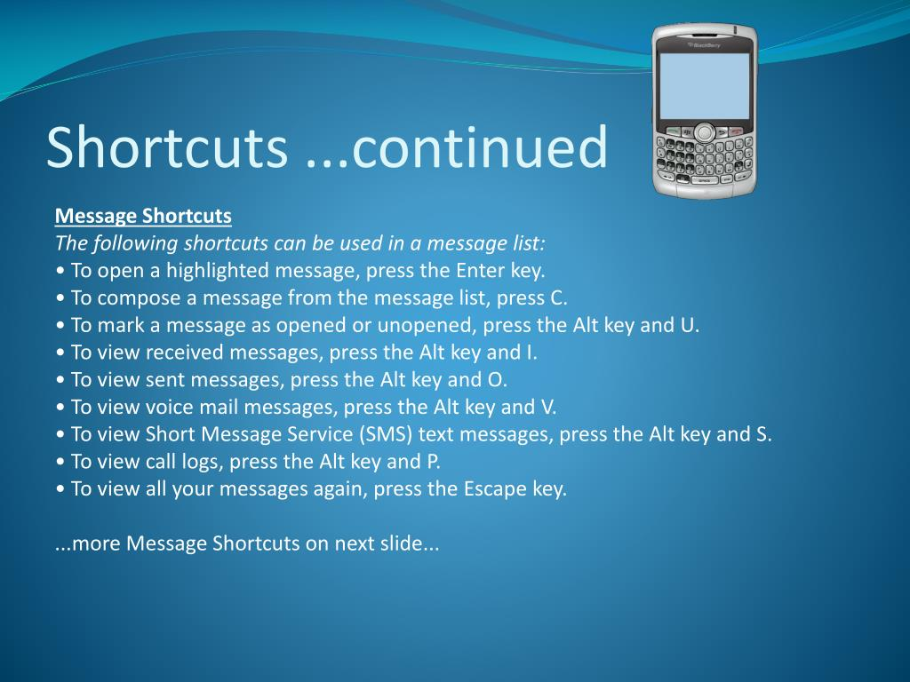 Shortcuts ...continued