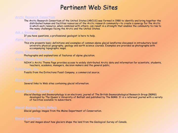 Pertinent Web Sites