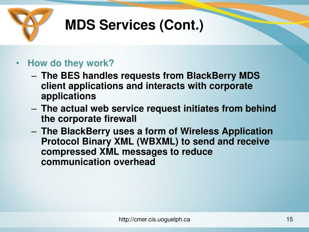 MDS Services (Cont.)