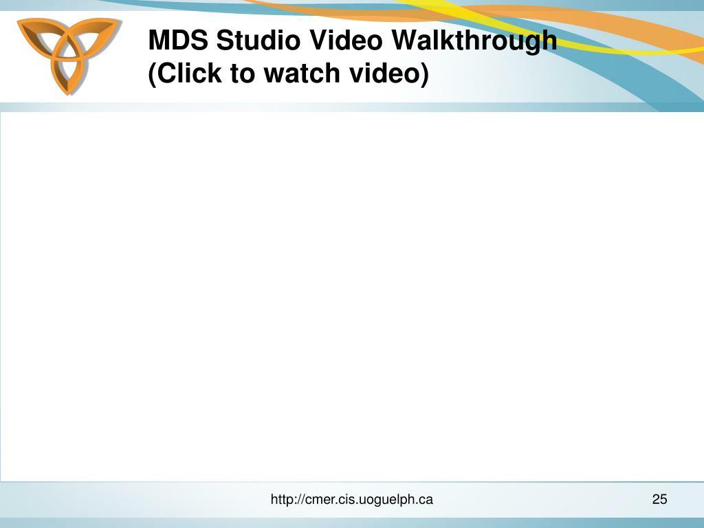 MDS Studio Video Walkthrough