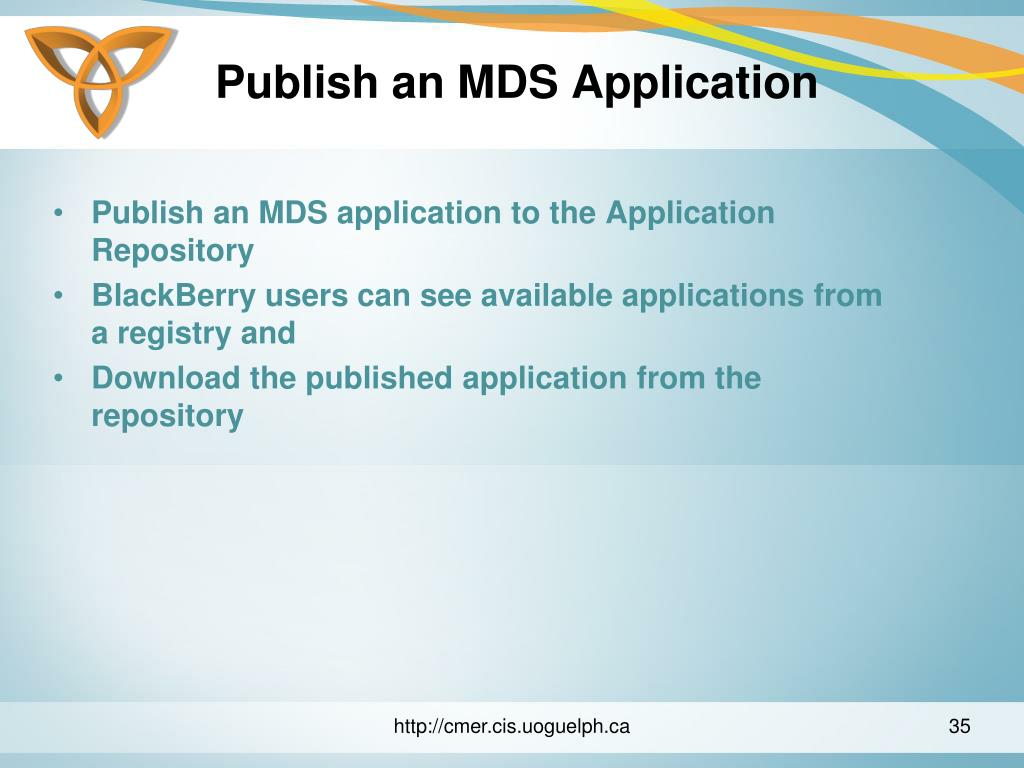 Publish an MDS Application