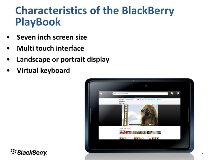 Characteristics of the blackberry playbook
