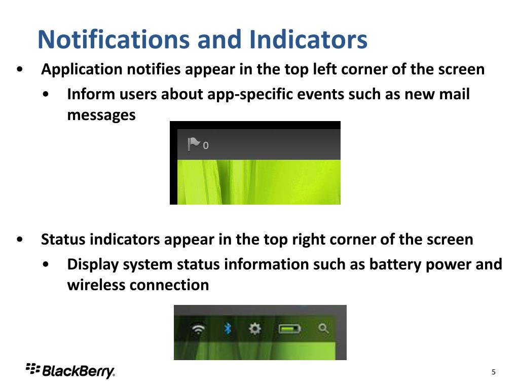 Notifications and Indicators