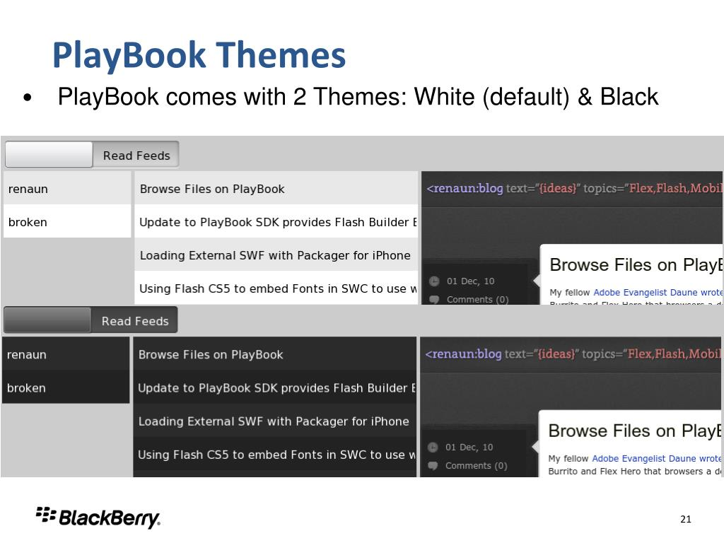 PlayBook Themes