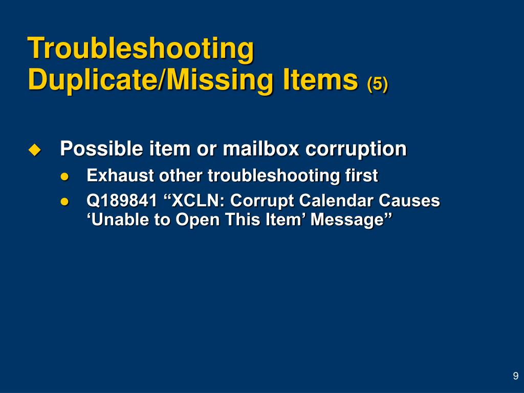 Troubleshooting Duplicate/Missing Items