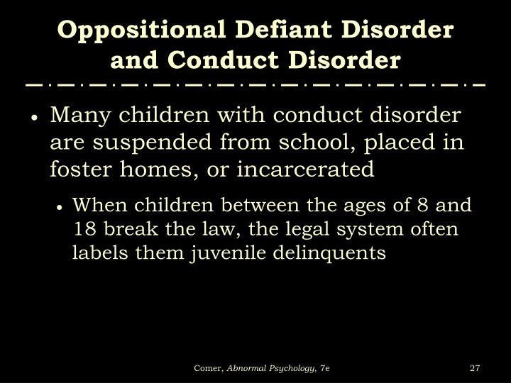 program for the prevention of the oppositional defiant disorder odd and the conduct disorder cd
