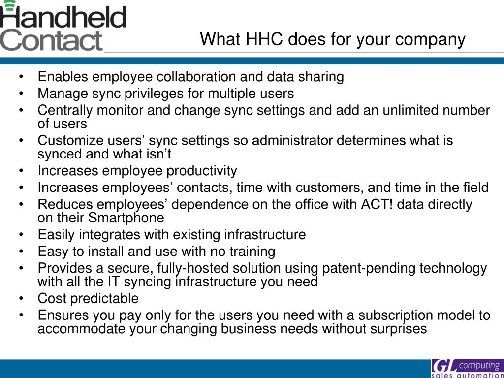 What HHC does for your company