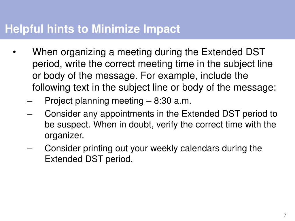 Helpful hints to Minimize Impact