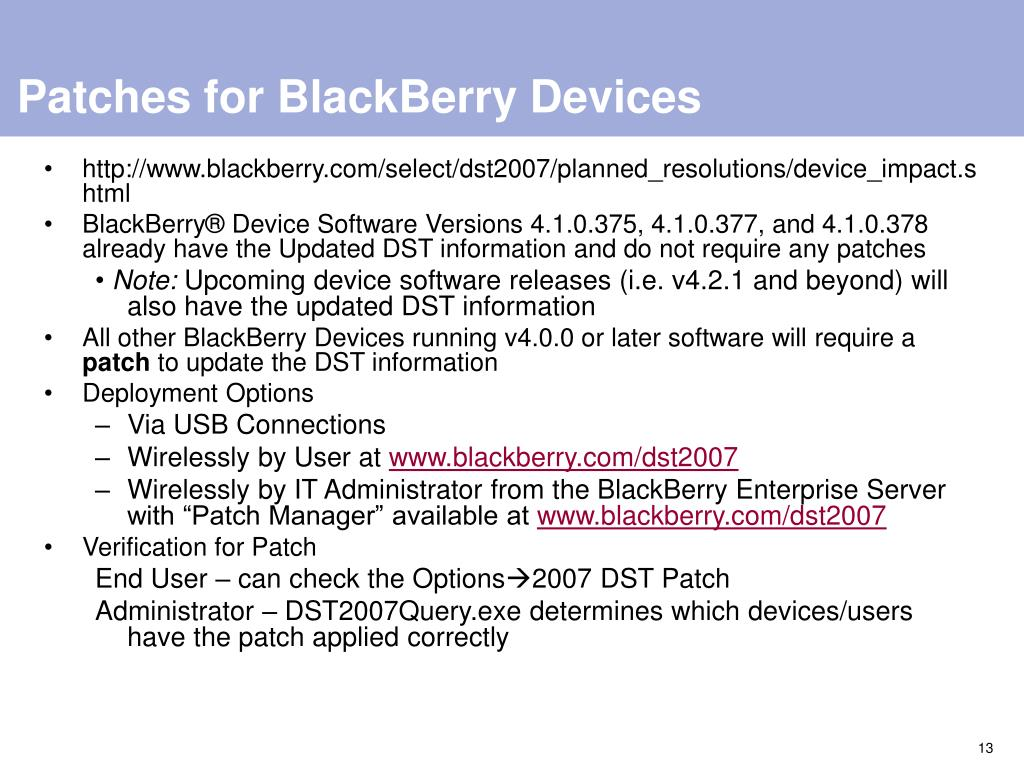 Patches for BlackBerry Devices