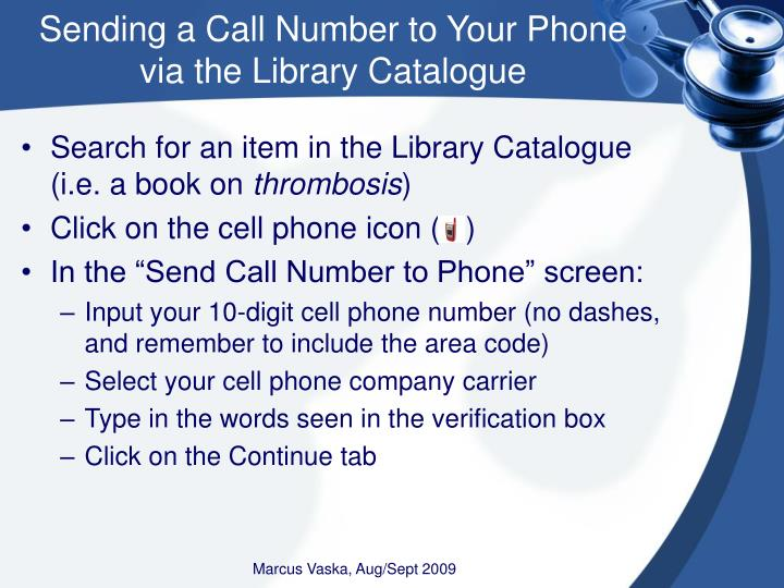 Sending a call number to your phone via the library catalogue