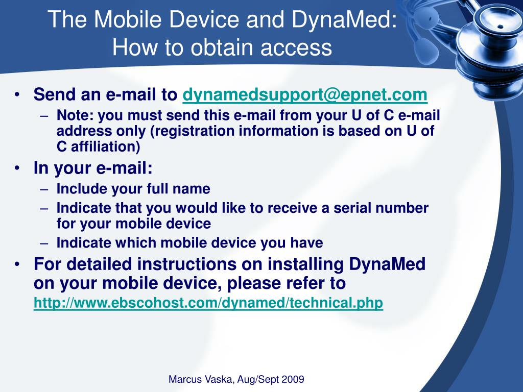 The Mobile Device and DynaMed: