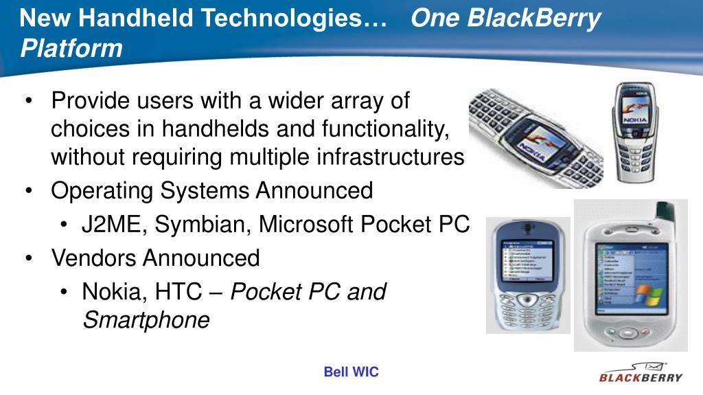 New Handheld Technologies…