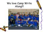 we love camp write along