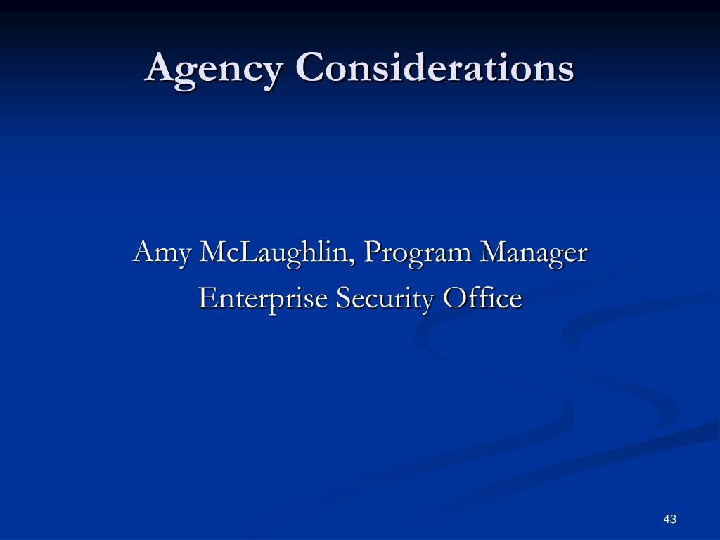Agency Considerations